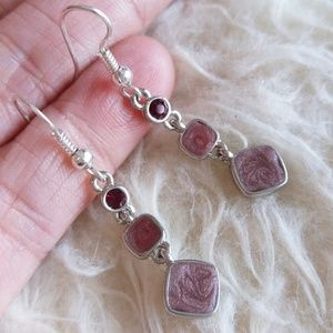 Jewelry - Red and Pink Stone Earrings